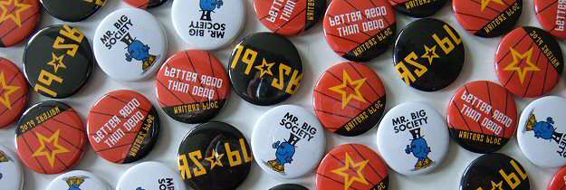 Photo of 4 designs of badges featuring Writers' Bloc