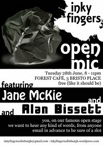 Inky Fingers poster - open mic featuring Jane McKie and Alan Bissett